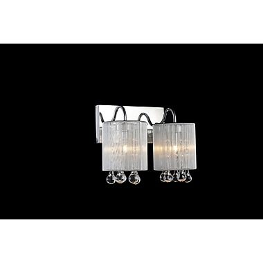 CrystalWorld Water Drop 2-Light Wall Sconce; Black