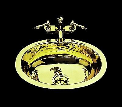 Bates & Bates Sculptured Metal Oval Undermount Bathroom Sink w/ Overflow; Weathered Brass
