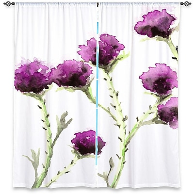 DiaNocheDesigns Nature/Floral Room Darkening Rod Pocket Curtain Panels (Set of 2); 20'' W x 82'' L