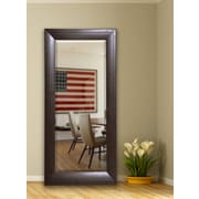 Mercer41 Espresso Stitched Leather Full Length Beveled Body Mirror; 71.25'' H x 30.75'' W x 1'' D