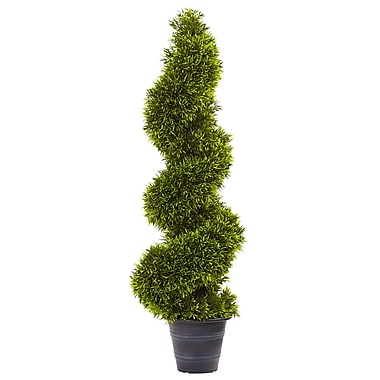 Nearly Natural Grass Spiral Round Tapered Topiary in Planter