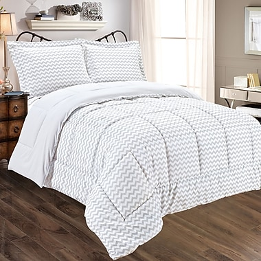 Sweet Home Collection Chevron 3 Piece Comforter Set; King