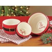 TAG Santa Belt Sentiment Salad Bowl 3 Piece Set
