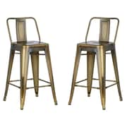 AC Pacific 24'' Bar Stool (Set of 2); Brass Gold