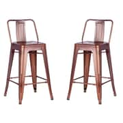 AC Pacific 24'' Bar Stool (Set of 2); Rose Gold