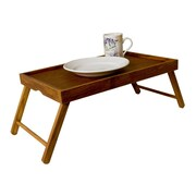 Sweet Home Collection Rustic Pine Wood Folding Legs Breakfast in Bed Food Serving Laptop Tray Table