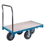 Kleton – Chariot à plateforme robuste, larg. de plat. de 48 po, haut. de poignée de 40 po, plat. en bois, diam. de roue de 8 po