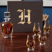 Home Wet Bar 6 Piece Personalized Whiskey Decanter Set; D