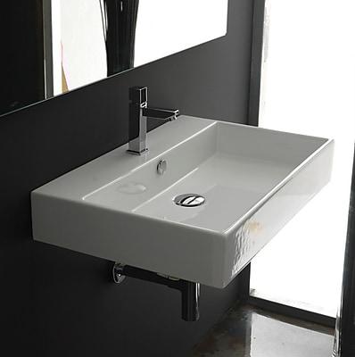 Ceramica II Unlimited Ceramic Ceramic Rectangular Vessel Bathroom Sink w/ Overflow