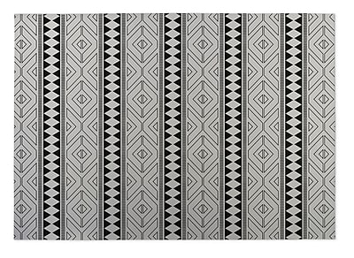 Kavka Ivory/Black Indoor/Outdoor Doormat; Rectangle 5' x 7'