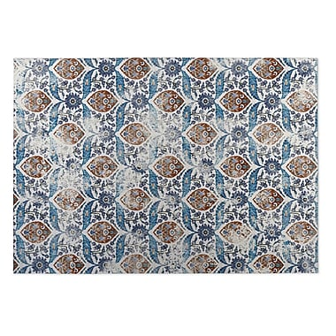 Kavka Ivory/Blue Indoor/Outdoor Doormat; 5' x 7'