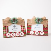 Glitzhome 2 Piece Wooden Joy and Noel Picture Frame Set