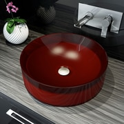 A&E Bath and Shower Meli Round Polymer Bathroom Basin Vessel Sink; Red