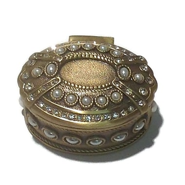 Elegance Vanity Oval Jewel Box, Antique Brass