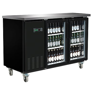 Maxximum – Glacières d'arrière de bar de 60 po avec surface en acier inoxydable, porte transparente