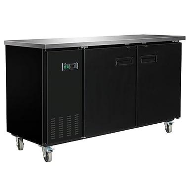 Maxximum – Arrière-bar réfrigéré avec dessus en acier inoxydable, 70 po, noir