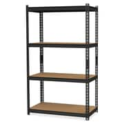 "Hirsh 2,300 lb Capacity Iron Horse Shelving, 4 Compartments, 60""H x 36""W x 18""D, Recycled, Black, Steel, Particleboard, 1Each"