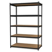 """Hirsh 2,300 lb Capacity Iron Horse Shelving, 5 Compartments, 72""""H x 36""""W x 18""""D, Recycled, Black, Steel, Particleboard, 1Each"""