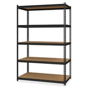 "Hirsh 2,300 lb Capacity Iron Horse Shelving, 5 Compartments, 72""H x 48""W x 18""D, Recycled, Black, Steel, Particleboard, 1Each"