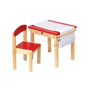 Guidecraft – Ensemble de table d'art et de chaises G98049, 21,5 x 17,5 x 19 po, rouge