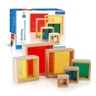 Guidecraft G5066 Stacking Rainbow Pyramid, 7 x 7 x 2