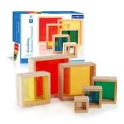 Guidecraft – Pyramide empilable arc-en-ciel G5066, 7 x 7 x 2 (po), multicolore
