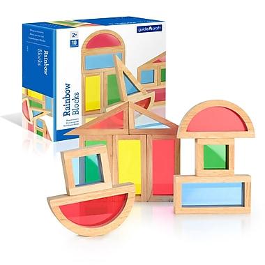 Guidecraft G3015 Rainbow Block Set, 10 Pieces, Various Sizes, Multicolour
