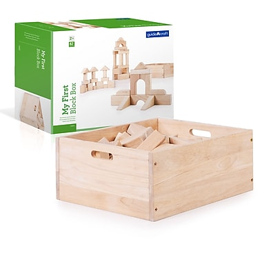 Guidecraft G6222 —My First Block Box, 62 pièces 17 larg. x 14,5 prof. x 7,5 haut. (Po), Naturel