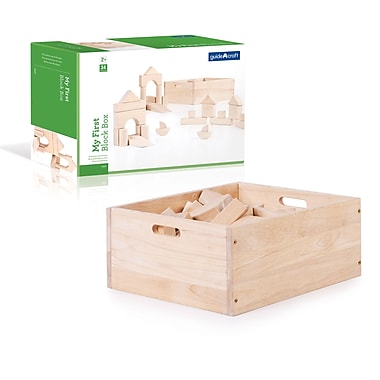 Guidecraft G6221 —My First Block Box, 34 pièces 15,5 larg. x 12 prof. x 6 haut. (Po), Naturel