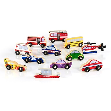 Guidecraft G6719 Wooden Vehicle Collection 12 Pieces, Various Sizes, Multicolour Set