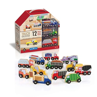 Guidecraft G6718 Wooden Truck Collection 12 Pieces, Various Sizes, Multicolour Set