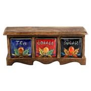 Kindwer Curios Tea Coffee Sugar 3 Drawer Wood Apothecary Chest