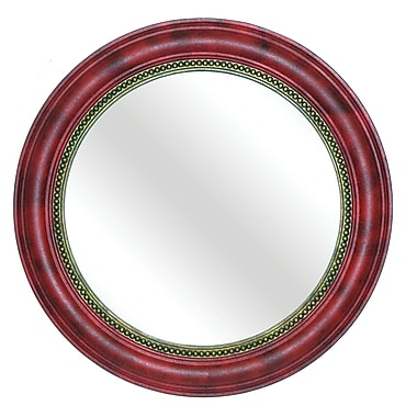 Hickory Manor House Round Beaded Mirror; Aged Red Gold