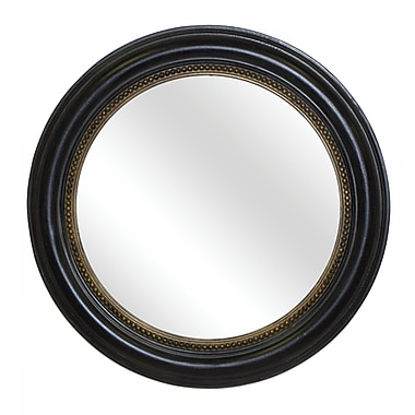 Hickory Manor House Round Beaded Mirror; Old Black Gold