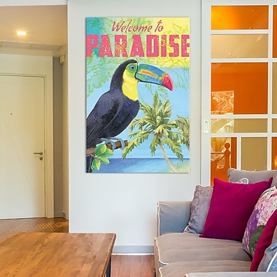 Varick Gallery Island Time Parrot Textual Art on Wrapped Canvas; 18'' H x 12'' W x 0.75'' D