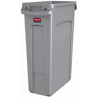 Rubbermaid Commercial Slim Jim Garbage Cans with Venting Channels, 23-Gallon, Gray (FG354060GRA)