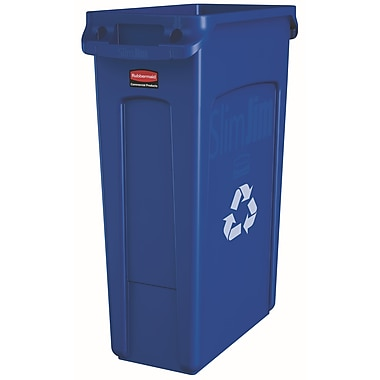 Rubbermaid Commercial Slim Jim Garbage Cans with Venting Channels and Recycle Symbol, 23-Gallon, Blue (FG354007BLUE)