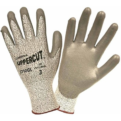 Uppercut™ High Performance Cut-Resistant Gloves with PU Coating, Color: Salt and Pepper, Size: Small (3710GS)