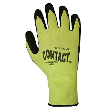 Cordova 13-Gauge Latex-Coated Nylon Work Gloves, Color: Hi-Vis Green, 12 PR, Size: Large (3991L)