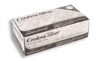 Cordova Silver™ Latex Industrial Grade Powder-Free Disposable Gloves, Color: White, Size: Extra Small, Case of 1,000 (4015XS)
