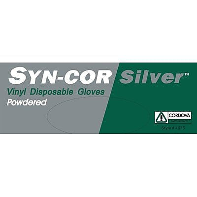 Syn-Cor Silver™ Industrial Grade Vinyl Powdered Disposable Gloves, Size: Medium, Case of 1,000 (4075M)