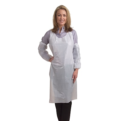 Cordova Polyethylene Embossed Aprons, One Size Fits Most, Color: White, 1,000 pcs/Case (PA1000)