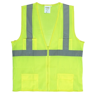 Cordova Class II Mesh Surveyors Vest with 2-Inch Reflective Tape, Color: Hi-Vis Lime, Size: Extra Large (VS271PXL)