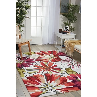 Latitude Run Mindy Hand-Hooked Ivory/Red Area Rug; 2'6'' x 4'