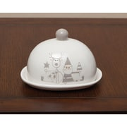 ZiaBella Holiday Santa and Reindeer Ceramic Covered Platter