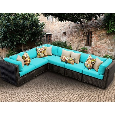 TK Classics Venice 6 Piece Sectional Seating Group w/ Cushion; Navy
