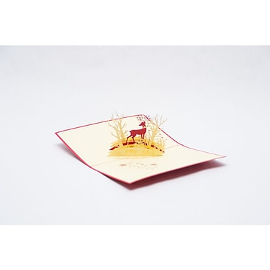 PopJoy Pop Up Card, Reindeer in The Woods, 3D Greeting Card, 5/Pack