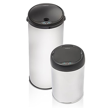 2-Pk. Modernhome Stainless Steel Motion Activated Trashcan Set
