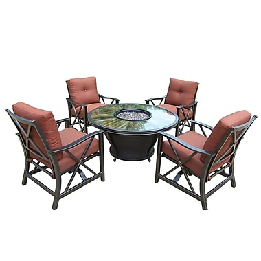 Oakland Living Moonlight 5 Piece Deep Seating Group w/ Cushions