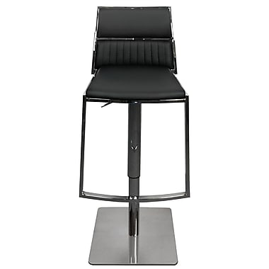 RMGFineImports Stanley Adjustable Height Swivel Bar Stool w/ Cushion; Black